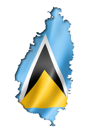 saint lucia: Saint Lucia flag map, three dimensional render, isolated on white Stock Photo