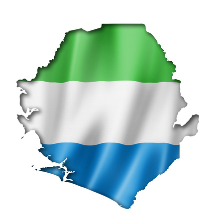 Sierra Leone flag map, three dimensional render, isolated on white