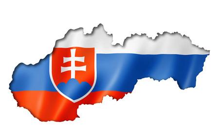 slovakia flag: Slovakia flag map, three dimensional render, isolated on white