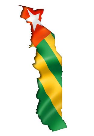 togo: Togo flag map, three dimensional render, isolated on white