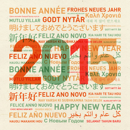 greeting: Happy new year from the world. Different languages celebration card