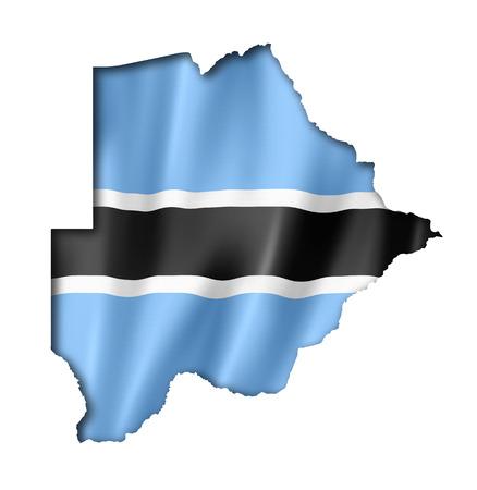 botswana: Botswana flag map, three dimensional render, isolated on white Stock Photo