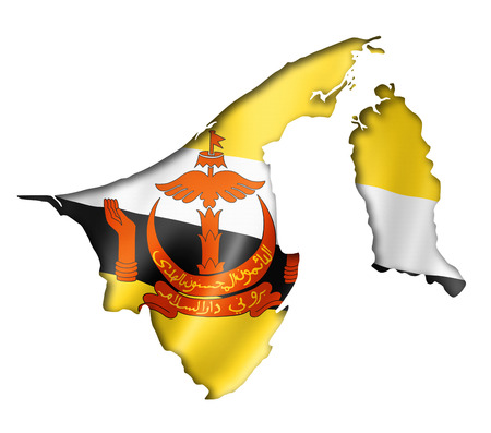 map of brunei: Brunei flag map, three dimensional render, isolated on white