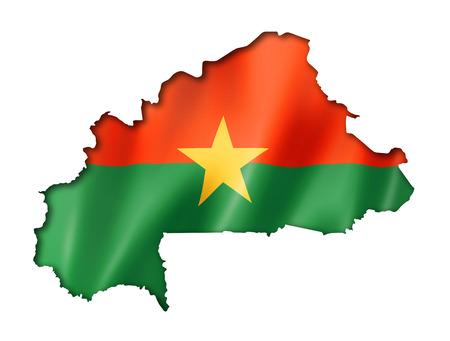 burkina faso: Burkina Faso flag map, three dimensional render, isolated on white Stock Photo