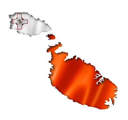 maltese map: Malta flag map, three dimensional render, isolated on white