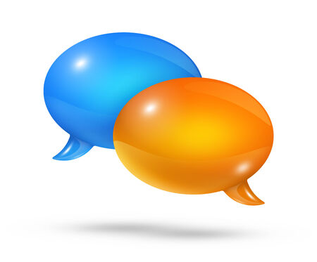 chat bubbles: 3D blue and orange speech bubbles isolated on white