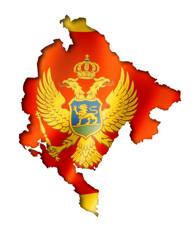 Montenegro flag map, three dimensional render, isolated on white photo