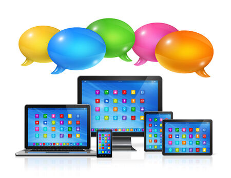 3D Speech bubbles and computers set. Communication and technology photo