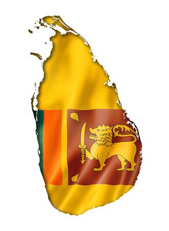 sri: Sri Lanka flag map, three dimensional render, isolated on white Stock Photo