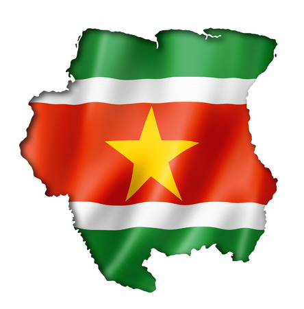 suriname: Suriname flag map, three dimensional render, isolated on white