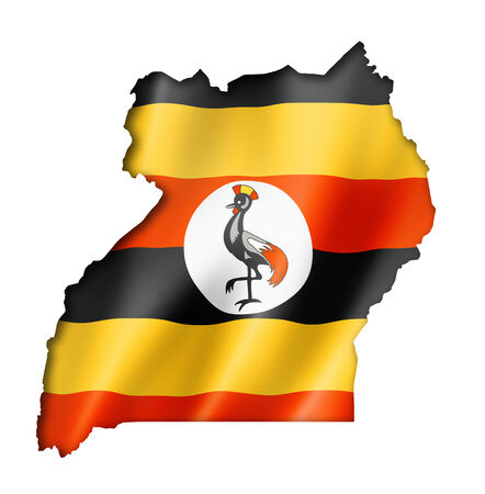 uganda: Uganda flag map, three dimensional render, isolated on white Stock Photo