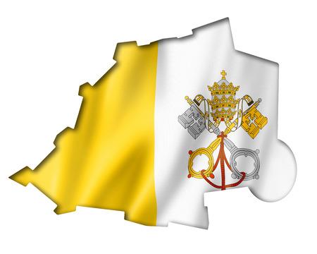 ciudad del vaticano: Ciudad del Vaticano bandera mapa, tres de representaci�n tridimensional, aislado en blanco