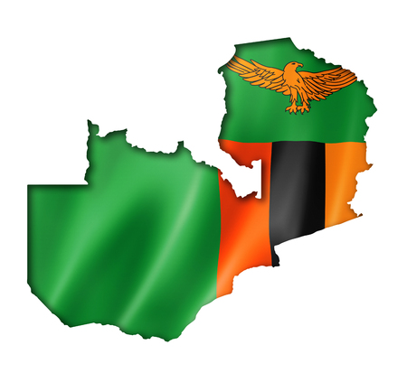 zambian: Zambia flag map, three dimensional render, isolated on white