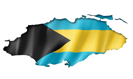 three dimensional shape: Bahamas flag map, three dimensional render, isolated on white