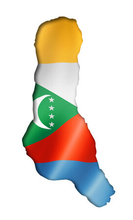 comoros: Comoros flag map, three dimensional render, isolated on white