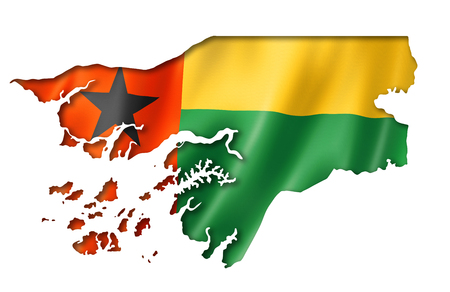 bissau: Guinea Bissau flag map, three dimensional render, isolated on white