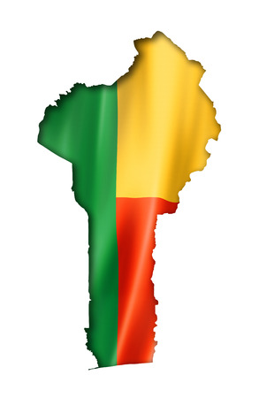 Benin flag map, three dimensional render, isolated on white photo