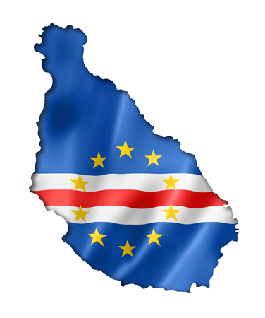 cape verde: Cape Verde flag map, three dimensional render, isolated on white Stock Photo