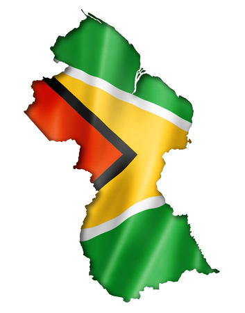 guyanese: Guyana flag map, three dimensional render, isolated on white