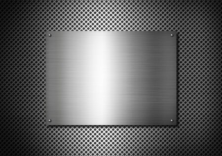 aluminium texture: Silver Metal texture plate with screws on a aluminium grid background