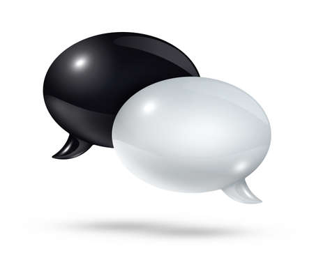 bubble speech: 3D black and white speech bubbles isolated on white