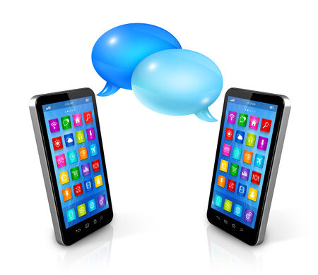 mobile phones: 3D Speech bubbles and mobile phones. Communication and technology Stock Photo