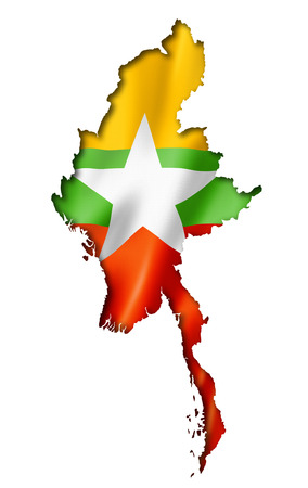 myanmar: Burma Myanmar flag map, three dimensional render, isolated on white