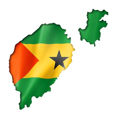 principe: Santo Tomé y Príncipe mapa de la bandera, tres de representación tridimensional, aislado en blanco