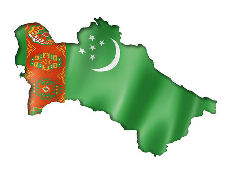 turkmenistan: Turkmenistan flag map, three dimensional render, isolated on white Stock Photo