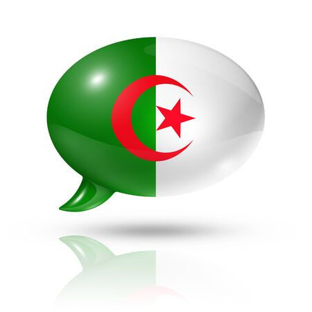 translating: three dimensional Algerian flag in a speech bubble isolated on white
