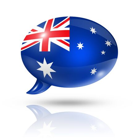 three dimensional: three dimensional Australia flag in a speech bubble isolated on white