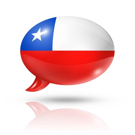 three dimensional: three dimensional Chile flag in a speech bubble isolated on white