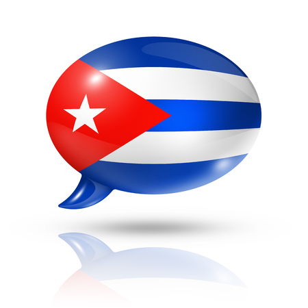 translating: three dimensional Cuba flag in a speech bubble isolated on white