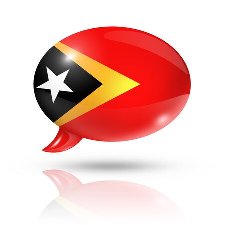 three dimensional: three dimensional East Timor flag in a speech bubble isolated on white