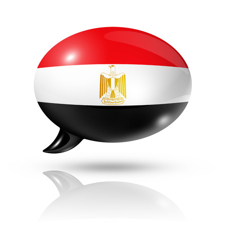 egypt flag: three dimensional Egypt flag in a speech bubble isolated on white Stock Photo