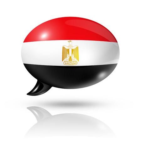 bandera de egipto: tres dimensiones bandera de Egipto en una burbuja de discurso aislado en blanco