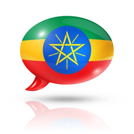 translating: three dimensional Ethiopia flag in a speech bubble isolated on white Stock Photo