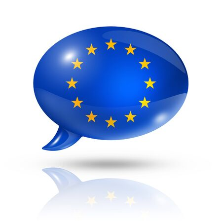 eec: three dimensional European union flag in a speech bubble isolated on white
