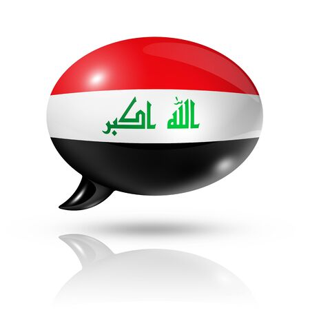 three dimensional: three dimensional Iraq flag in a speech bubble isolated on white