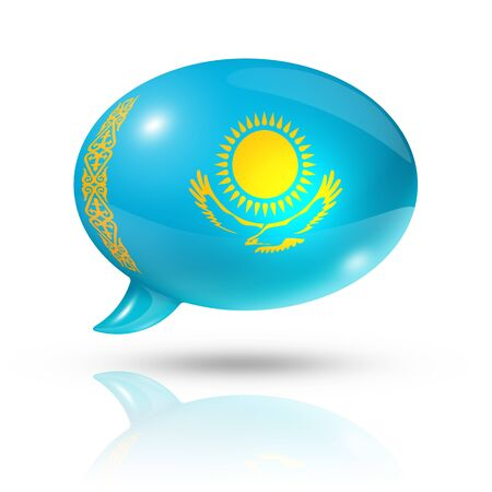 three dimensional Kazakhstan flag in a speech bubble isolated on white Stock Photo