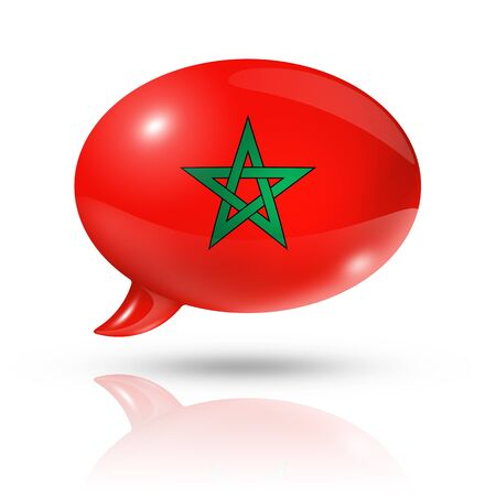 three dimensional: three dimensional Morocco flag in a speech bubble isolated on white