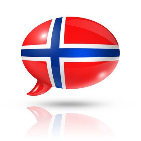 norwegian flag: three dimensional Norway flag in a speech bubble isolated on white