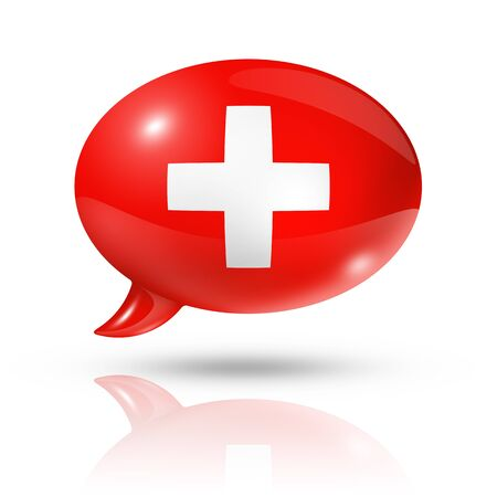 three dimensional: three dimensional Switzerland flag in a speech bubble isolated on white with clipping path Stock Photo