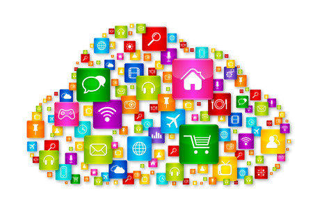 global business: Cloud Computing concept, apps icons set isolated on white