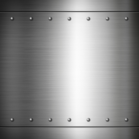 riveted: Steel riveted brushed plate background texture