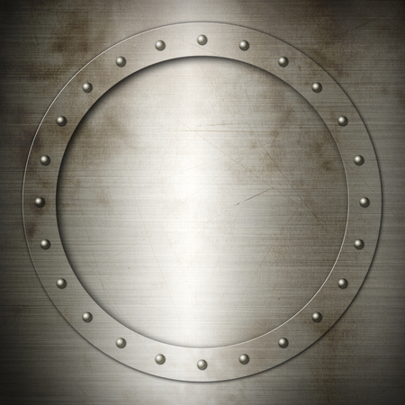 riveted metal: Old brushed Steel round frame background texture wallpaper Stock Photo