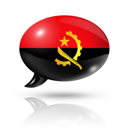 translating: three dimensional Angola flag in a speech bubble isolated on white with clipping path