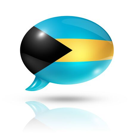 translating: three dimensional Bahamas flag in a speech bubble isolated on white with clipping path Stock Photo