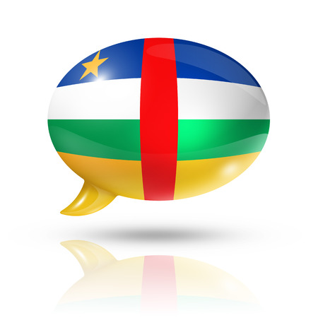 converse: three dimensional Central African Republic flag in a speech bubble isolated on white with clipping path