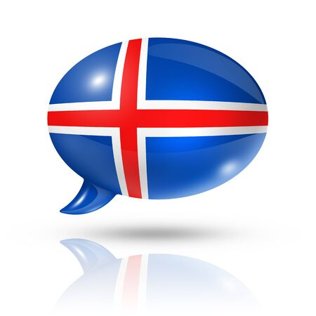 translating: three dimensional Iceland flag in a speech bubble isolated on white with clipping path Stock Photo